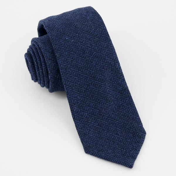 Unlined Herringbone Wool Navy Tie