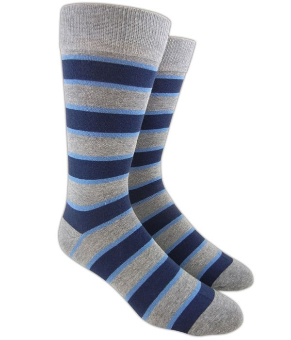 Bold Stripe Navy Dress Socks