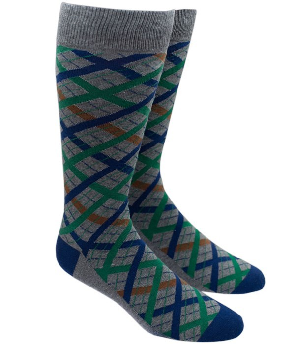 Picnic Plaid Green Dress Socks