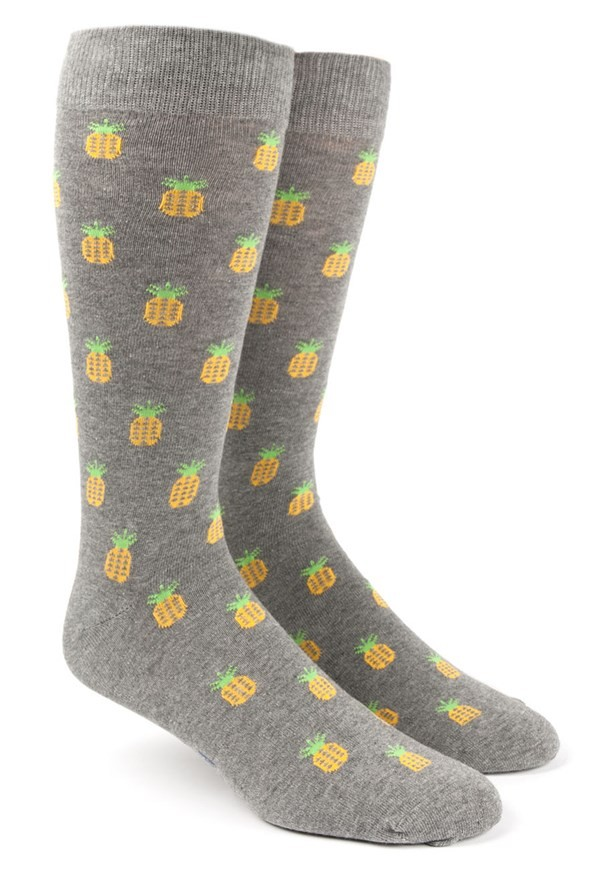 Pineapple Grey Dress Socks