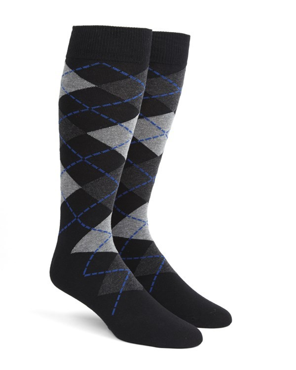 Argyle Black Dress Socks