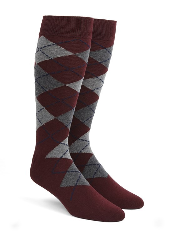 Argyle Burgundy Dress Socks