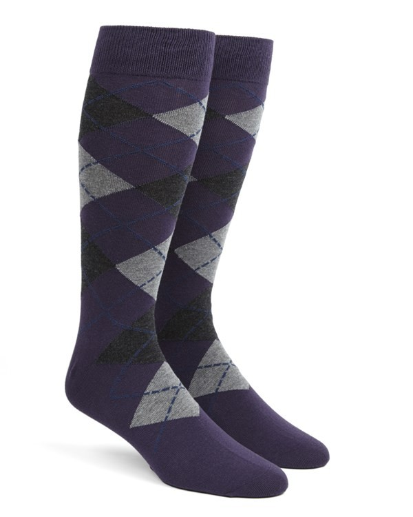 Argyle Purple Dress Socks