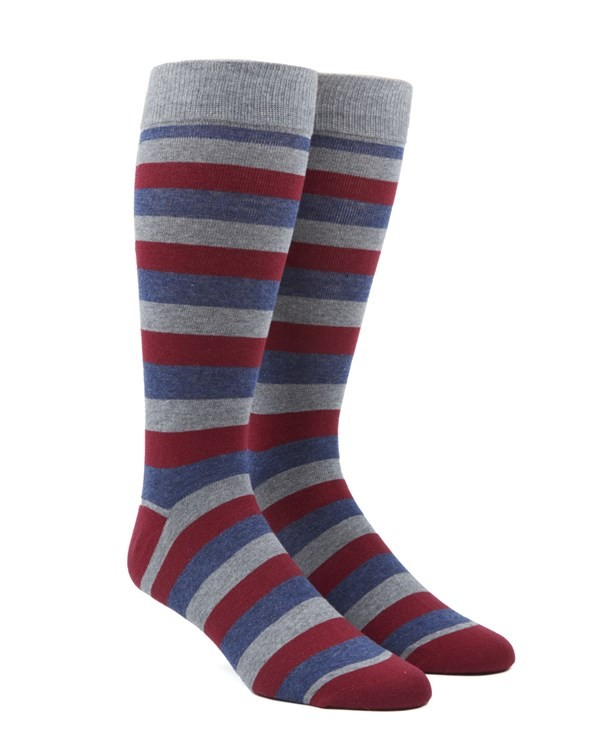 Varios Stripe Red Dress Socks