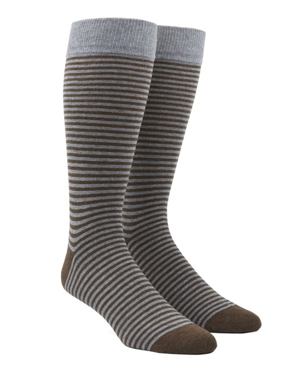 Thin Stripes Brown Dress Socks