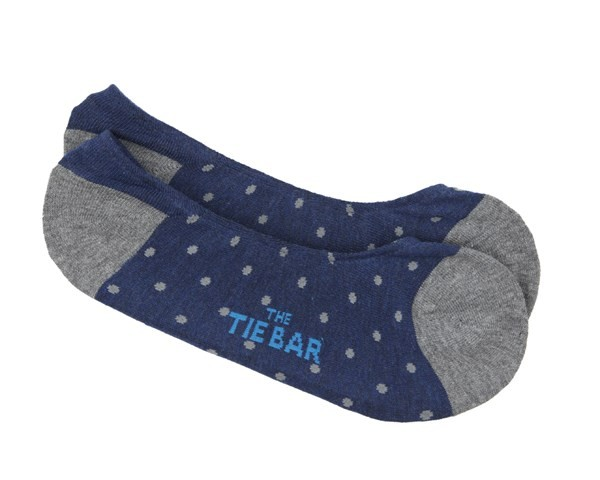 Polka Dot No-Show Grey Dress Socks