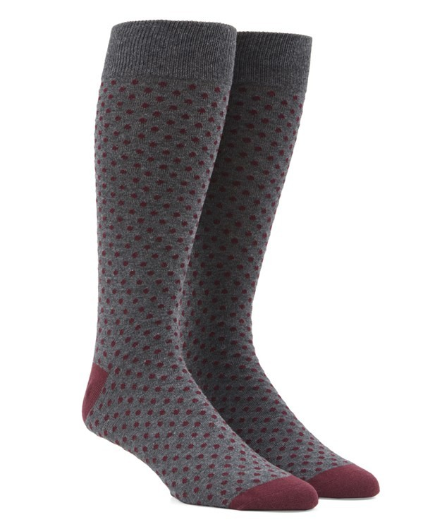Pindot Burgundy Dress Socks