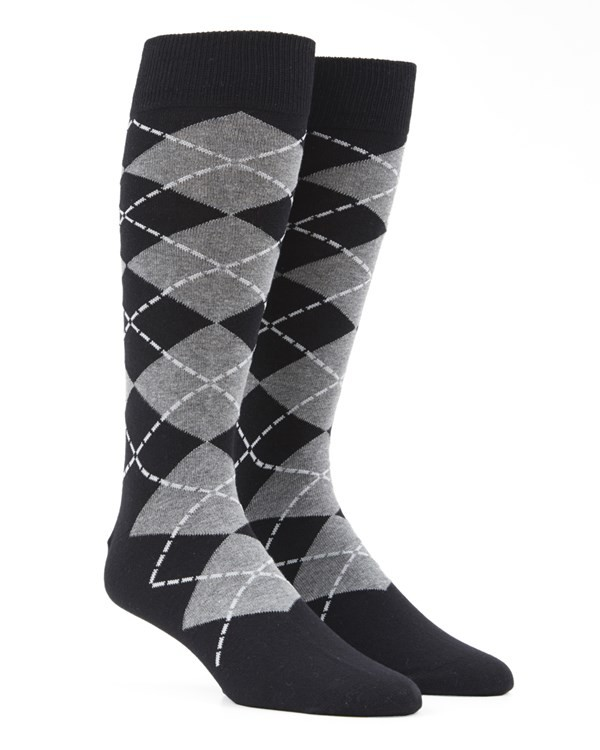 New Argyle Black Dress Socks