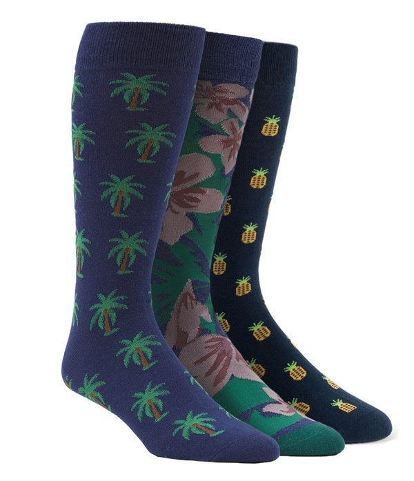 Fruit And Fauna Sock Pack Navy Dress Socks