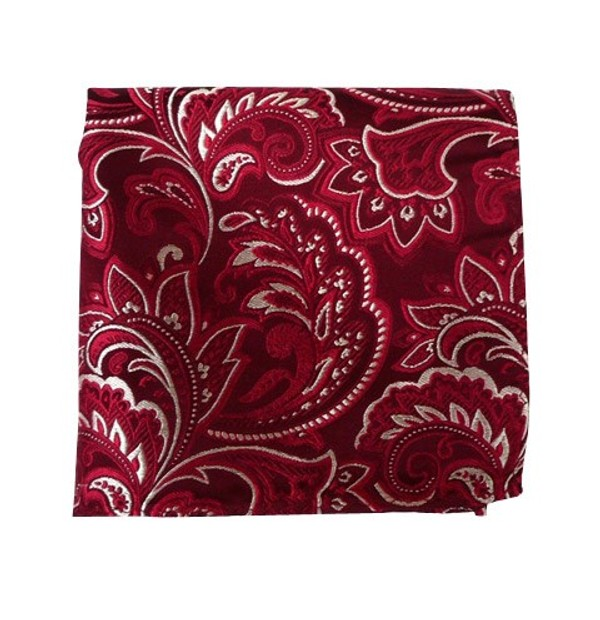 Organic Paisley Burgundy Pocket Square