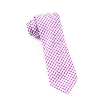 Novel Gingham Plum Tie