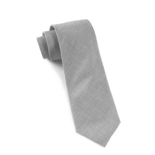 Solid Cotton Light Grey Tie