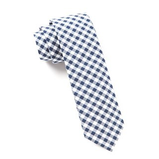 New Gingham Navy Tie