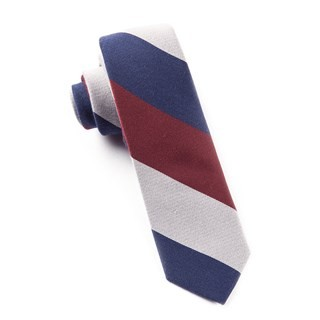 Big Wool Stripe Navy Tie
