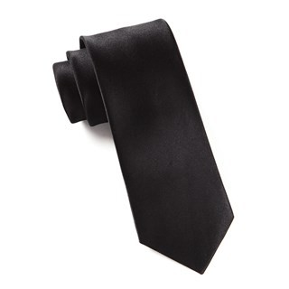 Solid Satin Black Tie