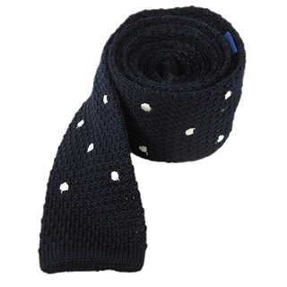 Knit Polkas Midnight Navy Tie
