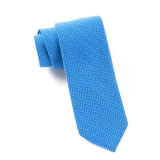 Wool Herringbone Royal Blue Tie