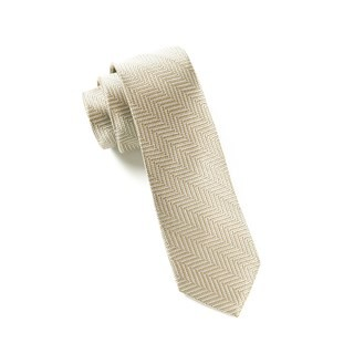 Native Herringbone Light Champagne Tie