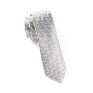 Native Herringbone Silver Tie