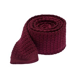 Textured Solid Knit Deep Burgundy Tie