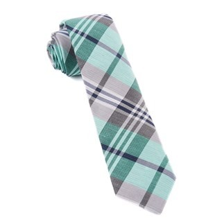 Crystal Wave Plaid Mint Tie