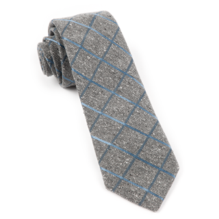 Peppered Window Pane Slate Blue Tie