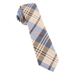 Crystal Wave Plaid Light Blue Tie