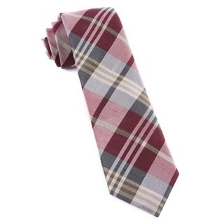 Crystal Wave Plaid Burgundy Tie