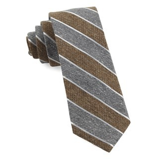 Splattered Repp Stripe Brown Tie