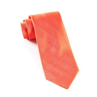 Herringbone Persimmon Red Tie