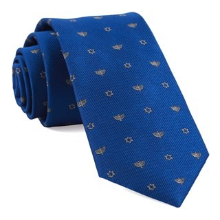 Menorahs Royal Blue Tie