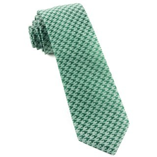 White Wash Houndstooth Moss Green Tie