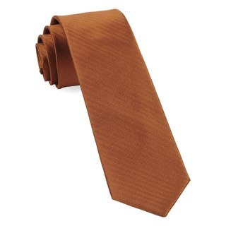 Sound Wave Herringbone Burnt Orange Tie
