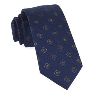 Medallion Shields Navy Tie