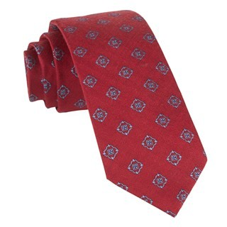 Medallion Shields Red Tie