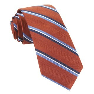 Short Cut Stripe Burnt Orange Tie