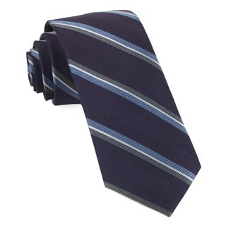 Short Cut Stripe Eggplant Tie