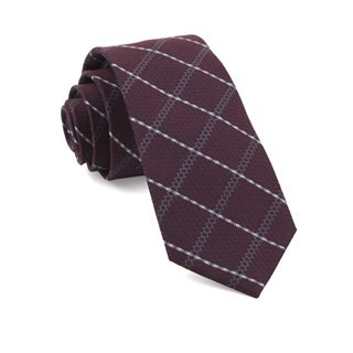 Gem Plaid Burgundy Tie