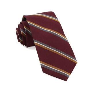 Short Cut Stripe Burgundy Tie