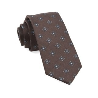 Medallion Shields Brown Tie