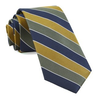 Bedford Stripe Olive Green Tie
