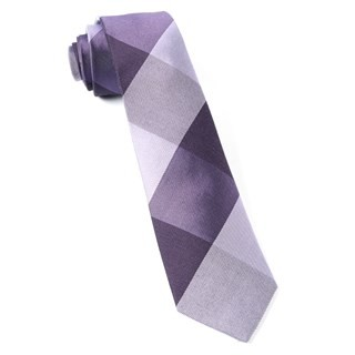 West Bison Plaid Purple Tie
