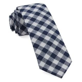Trellis Plaid Navy Tie