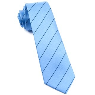 Pencil Pinstripe Light Blue Tie