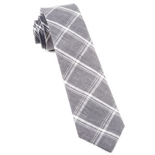 Jet Plaid Grey Tie