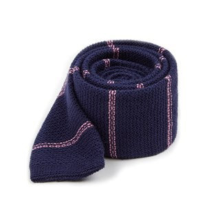 Knitted Hem Stripe Navy Tie