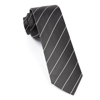 Pencil Pinstripe Bullet Grey Tie
