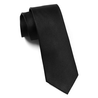 Grosgrain Solid Black Tie
