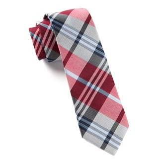 Crystal Wave Plaid Red Tie