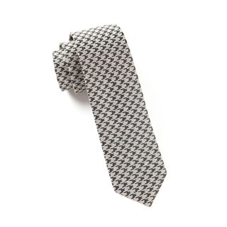 White Wash Houndstooth Light Grey Tie
